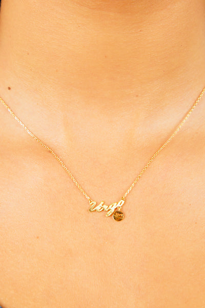 Virgo Nameplate Necklace - Gold