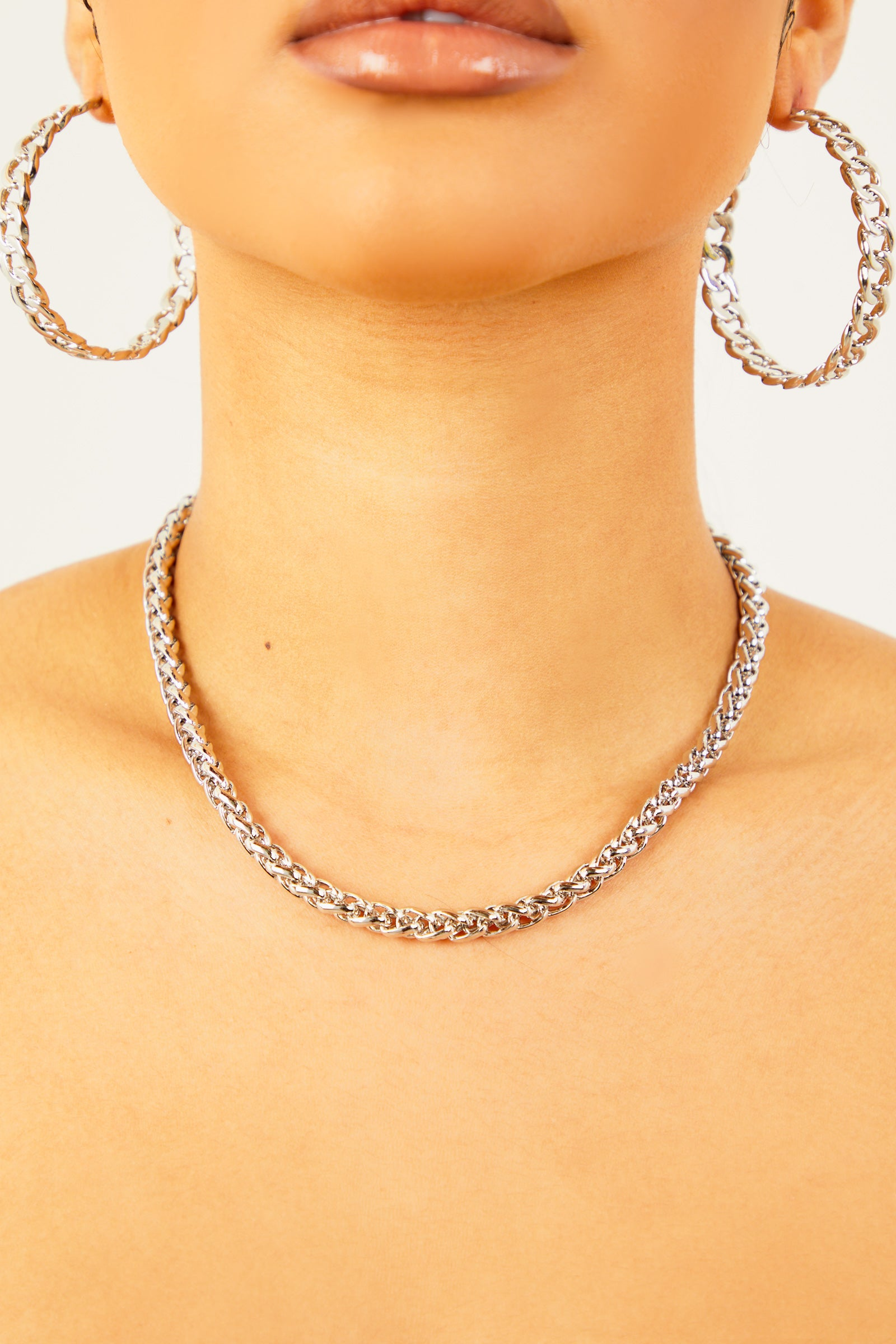 Silver Rope Solid Chain Necklace