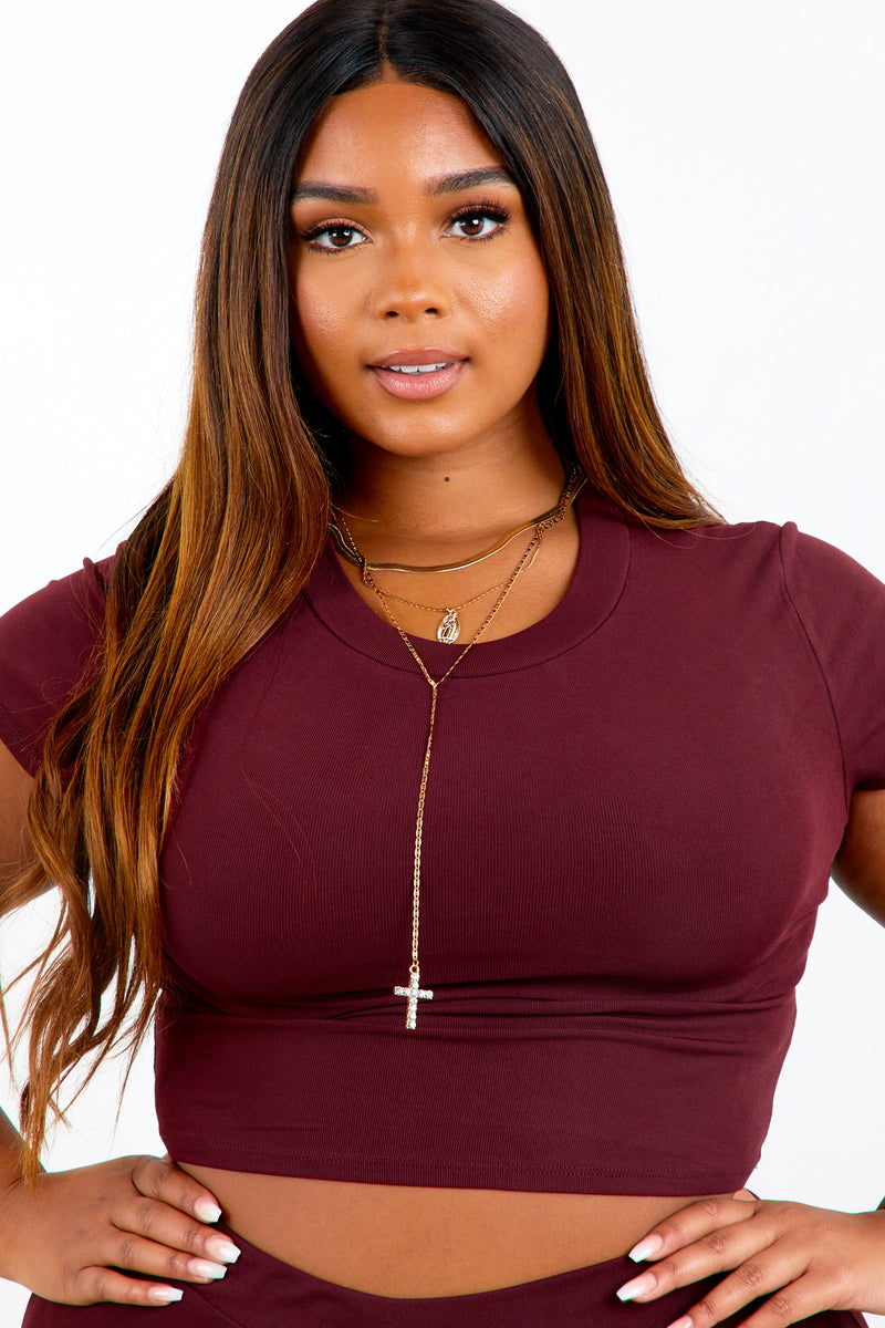 Burgundy Shape Short Sleeve Crop Top