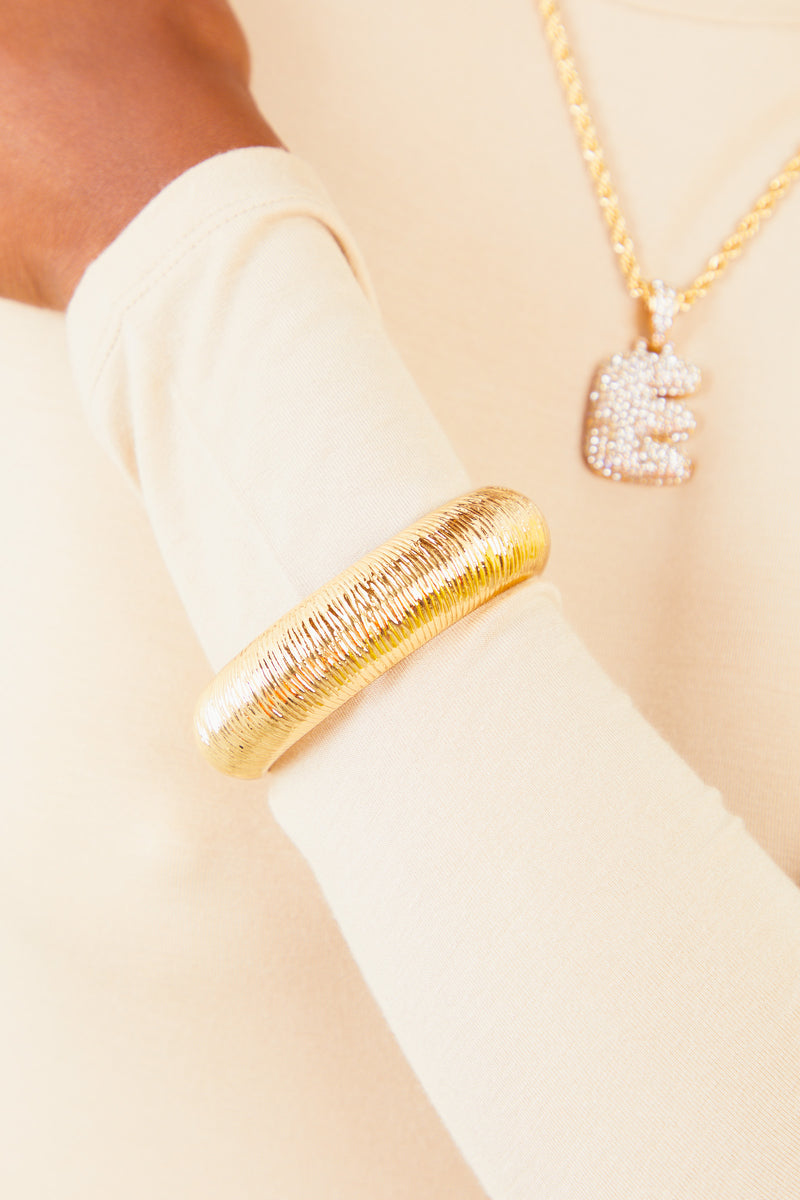 Gold Ribbed Bangle