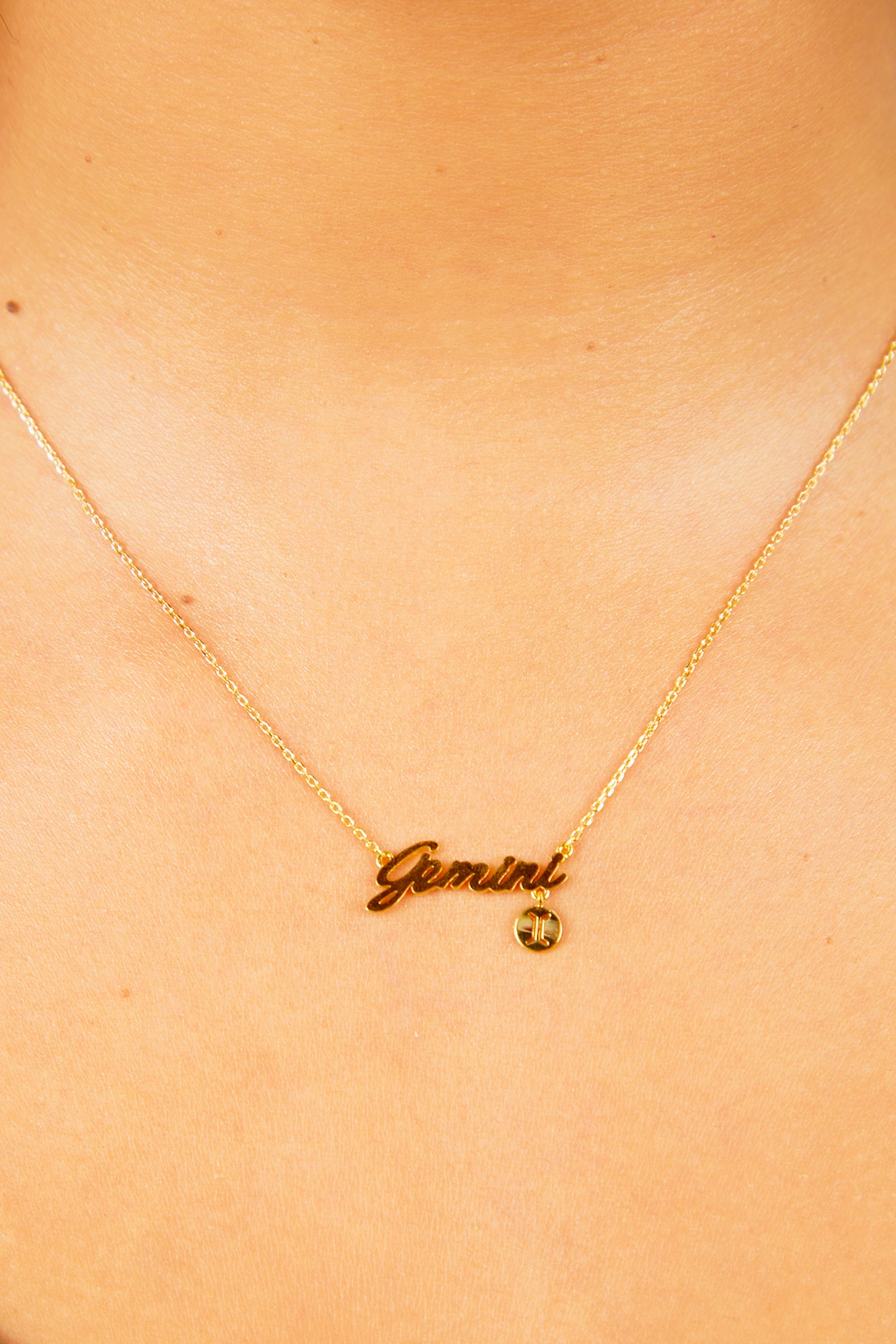 Gemini Nameplate Necklace - Gold