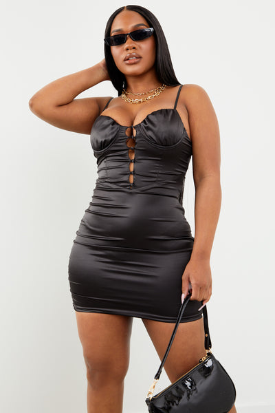 Black Satin Bustier Mini Dress