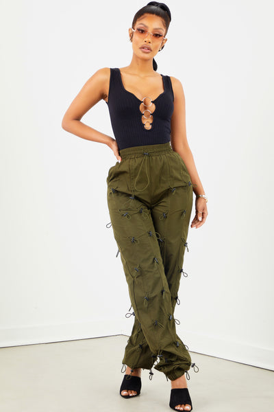 Olive Multi Drawstring Pants