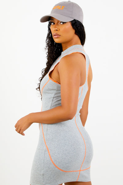 Sorella Grey Zip Up Dress