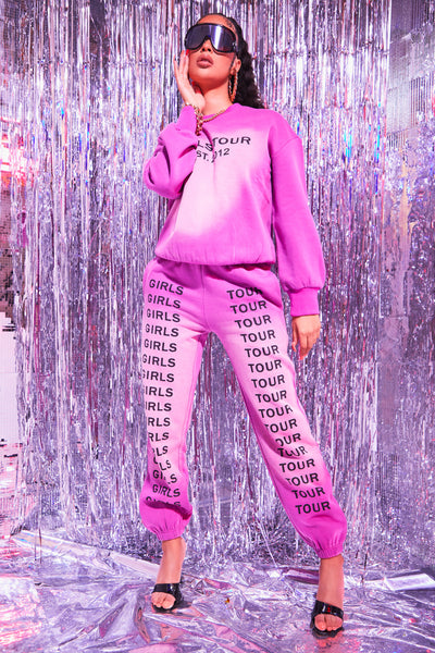 Pink Girls Tour Acid Wash Crewneck