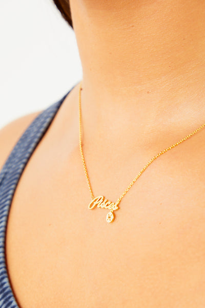 Pisces Nameplate Necklace - Gold
