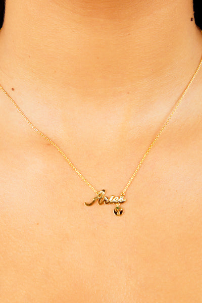 Aries Nameplate Necklace - Gold
