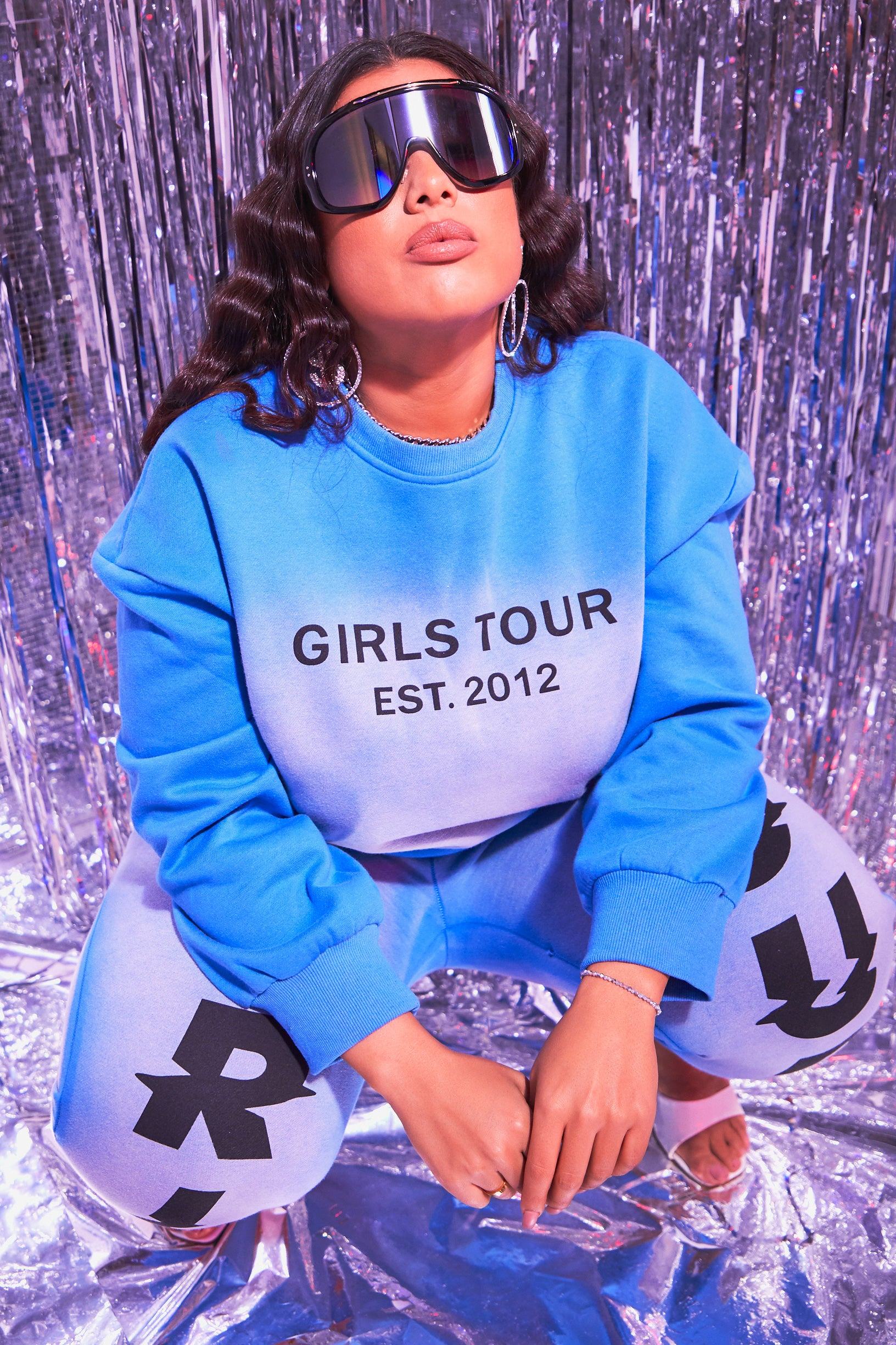 Blue Shape Girls Tour Acid Wash Crewneck