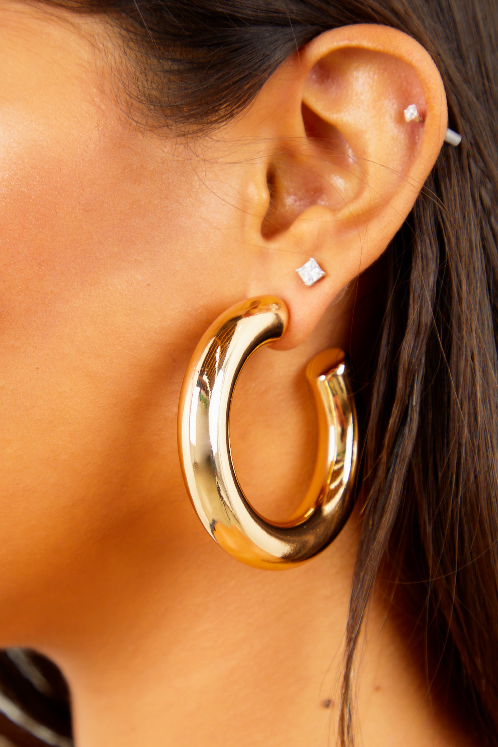 Solid Gold Thick Hoops