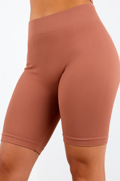 Copper Basic Ribbed Biker Shorts