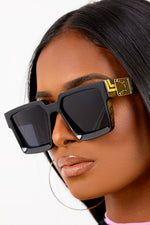 Black Square Retro Lens Sunglasses