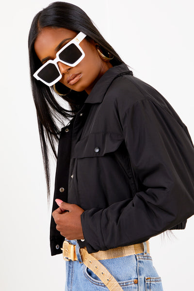 Black Cropped Puffer Jacket