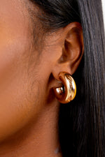 Gold Thick Mini Open Back Earrings