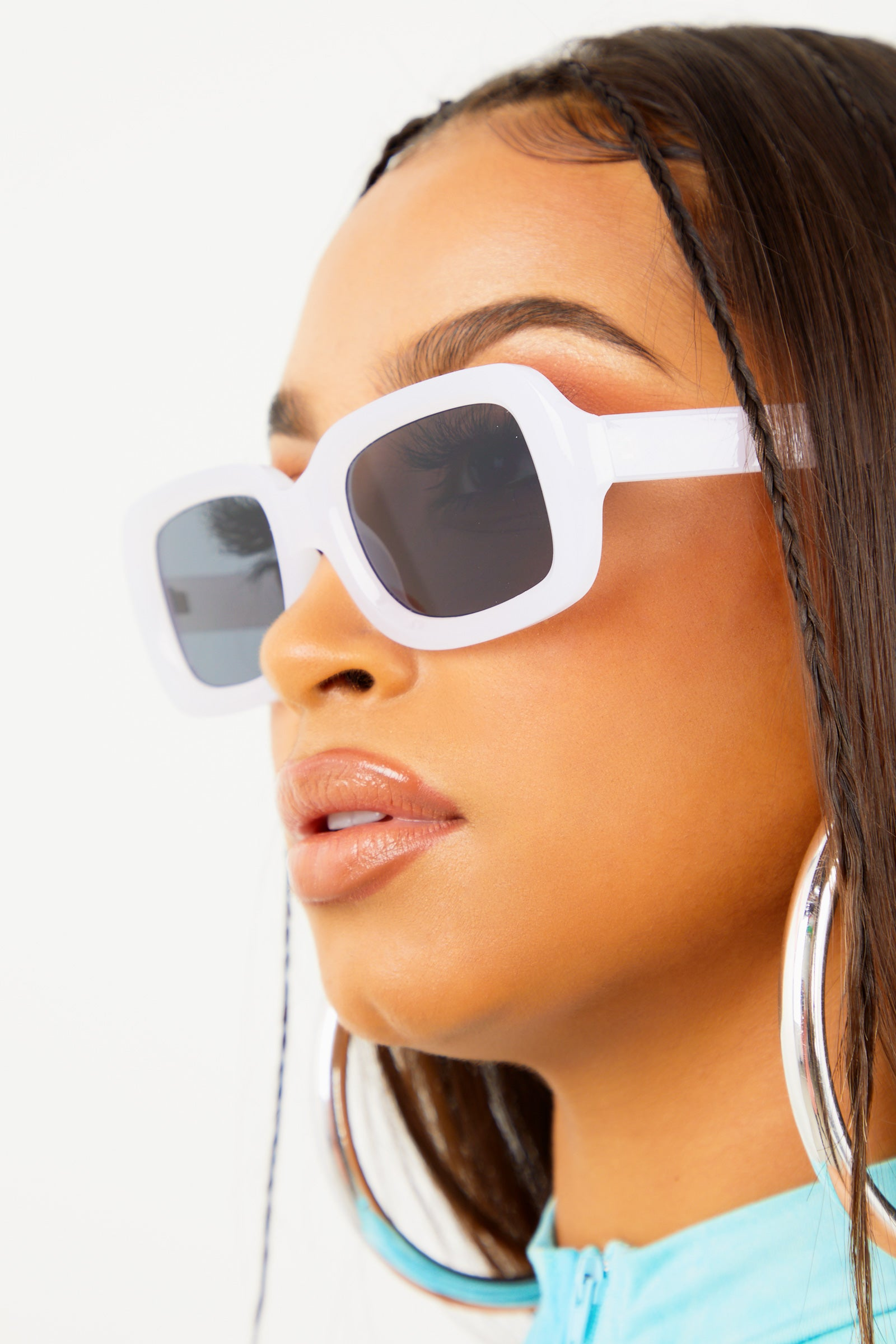 White Chunky Rectangular Sunglasses