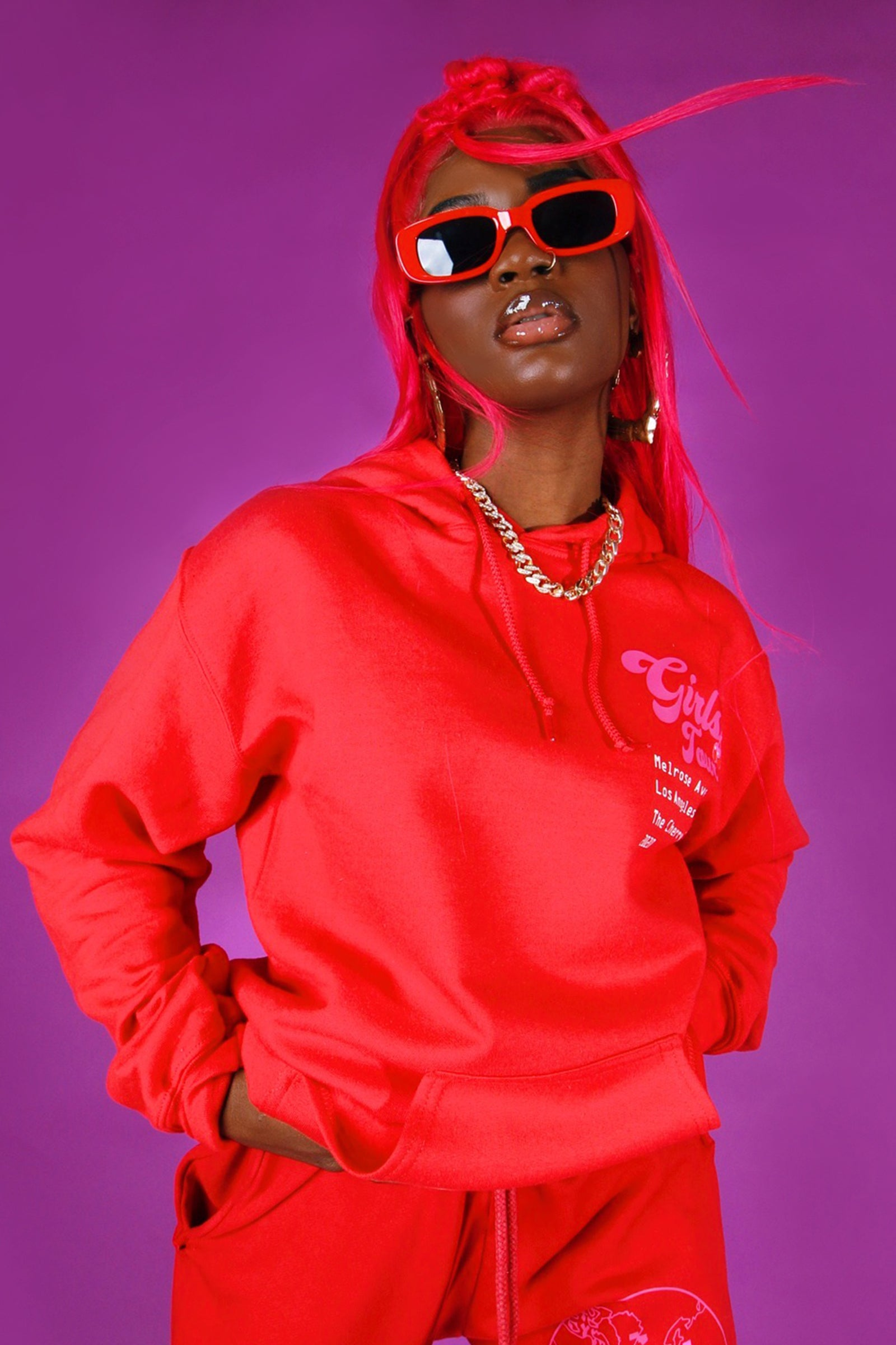 Girls Tour Cherry Hoodie Red