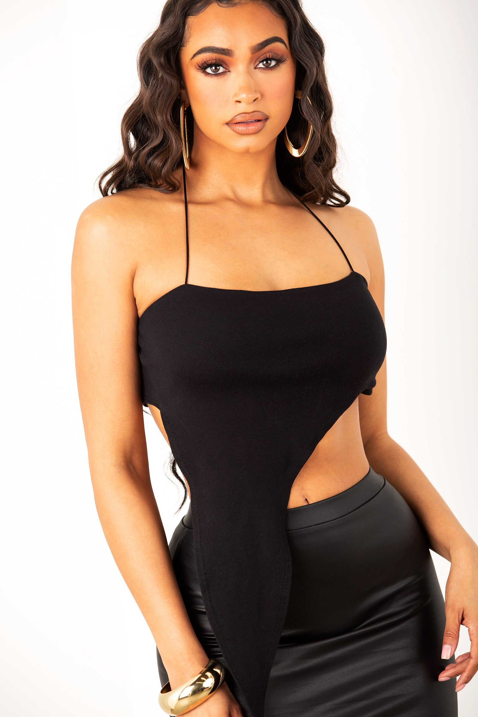 Black Side Slit Exteneded Halter Top
