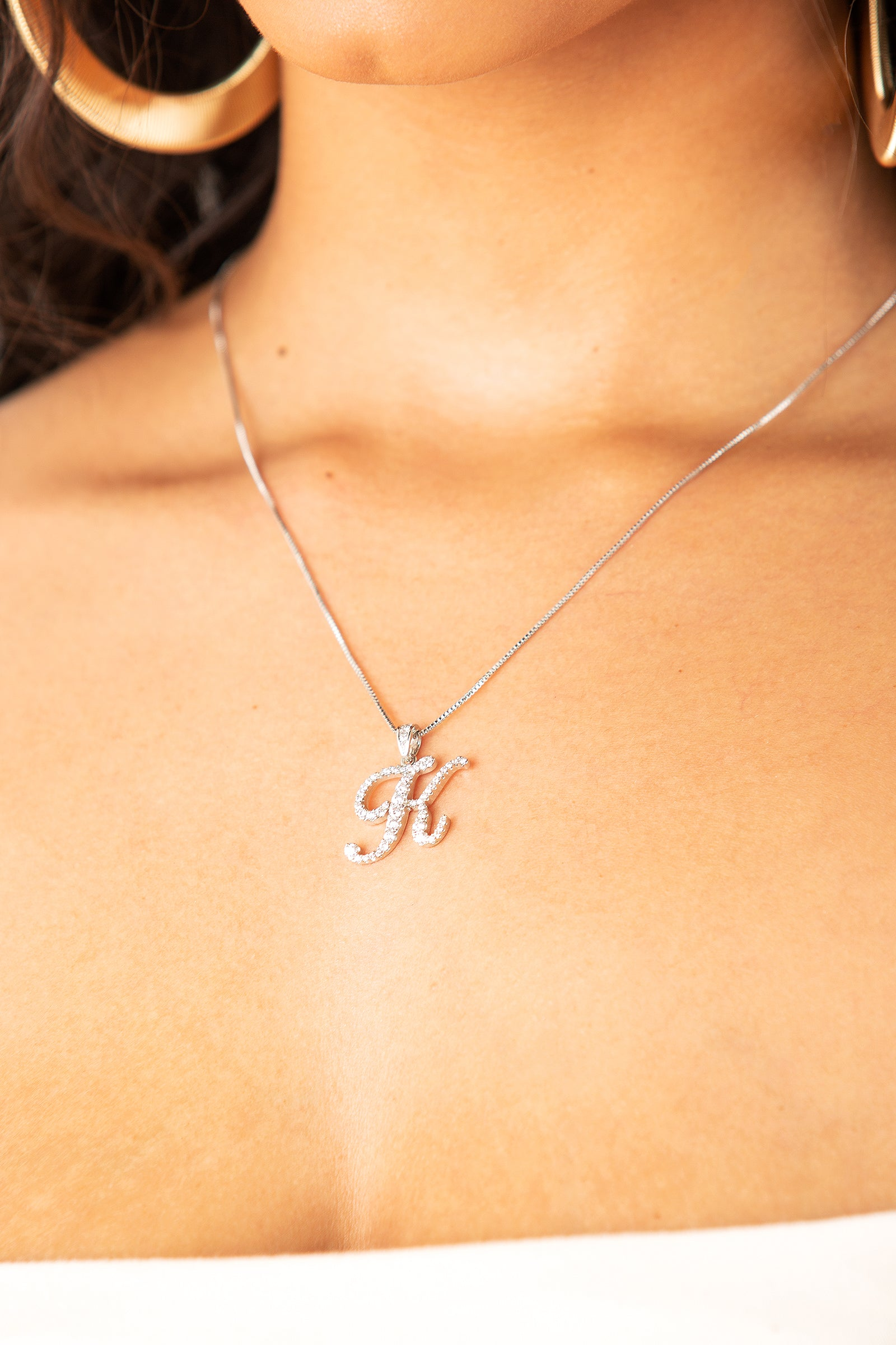 Mini Diamond K Cursive Pendant- Silver