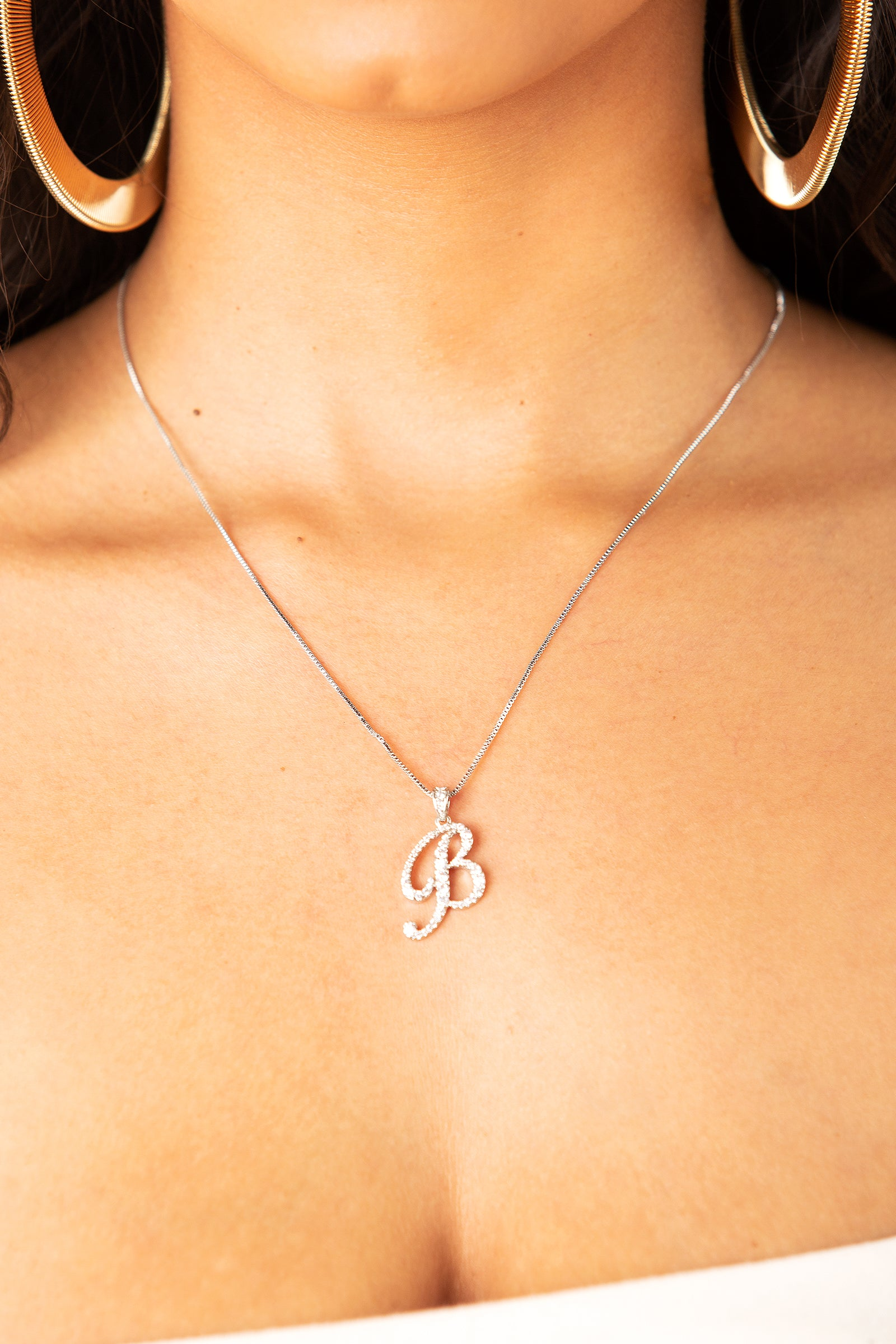 Mini Diamond B Cursive Pendant- Silver