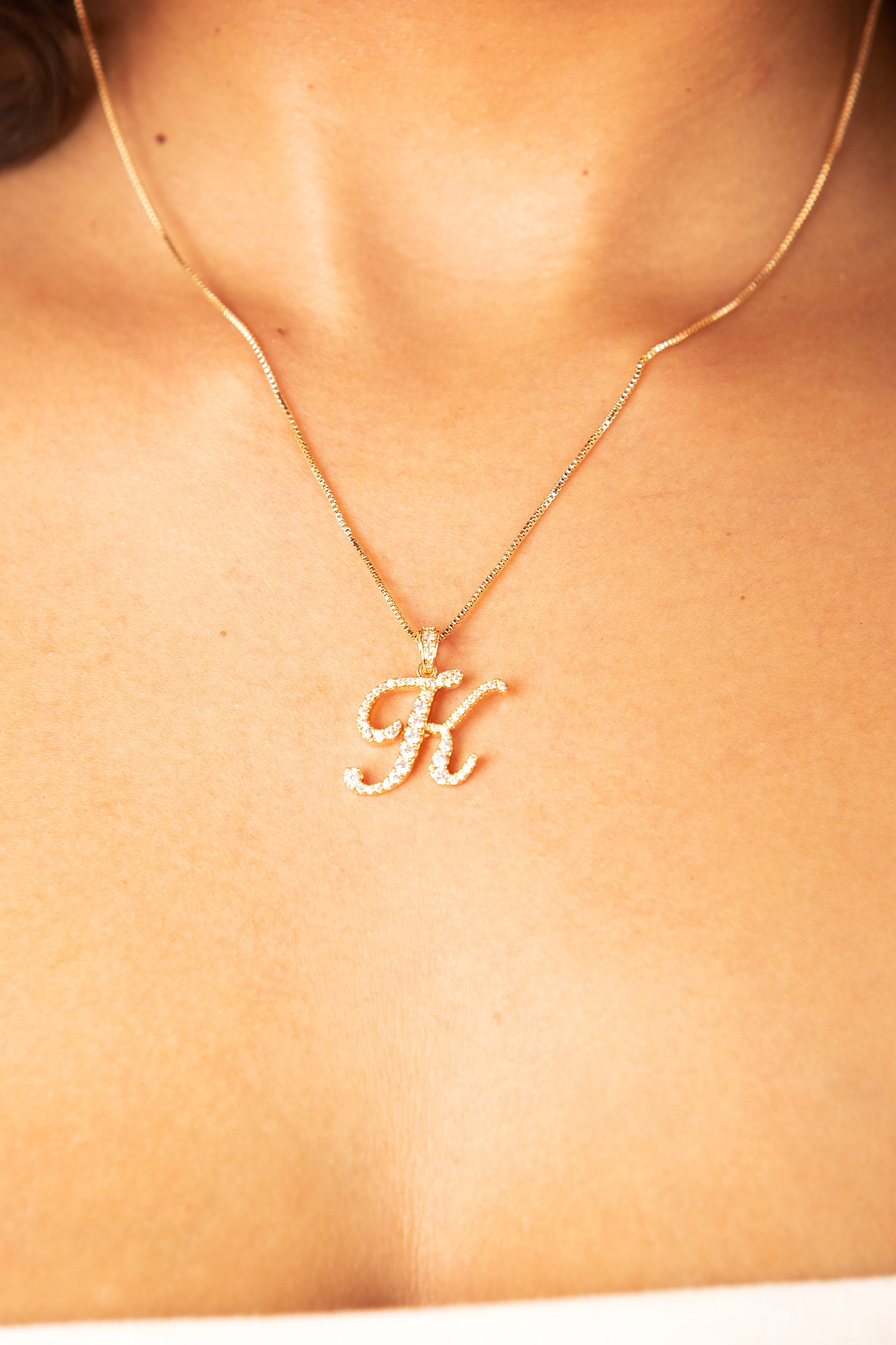 Mini Diamond K Cursive Pendant- Gold