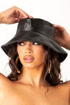 Black Soft Leather Bucket Hat
