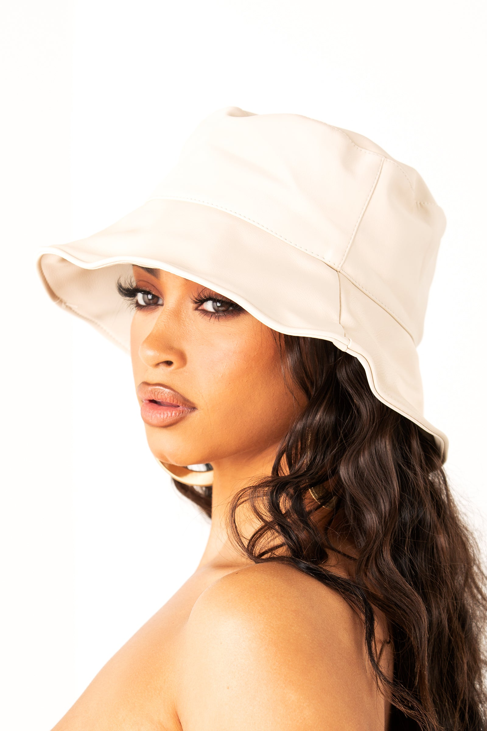 Cream Soft Leather Bucket Hat