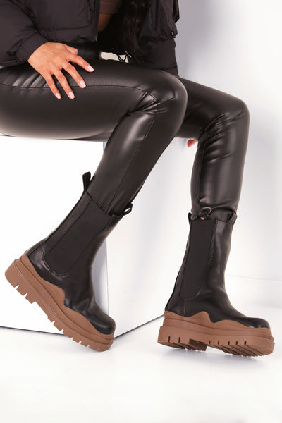Brown Chunky Sole Black boot