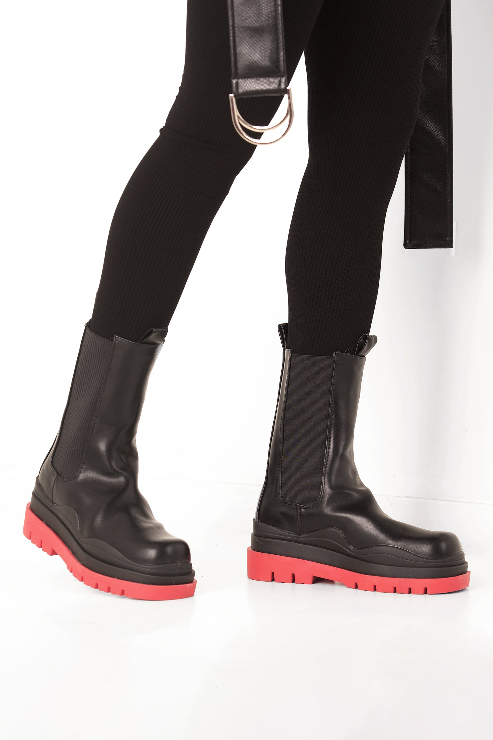 Red Chunky Sole Black boot