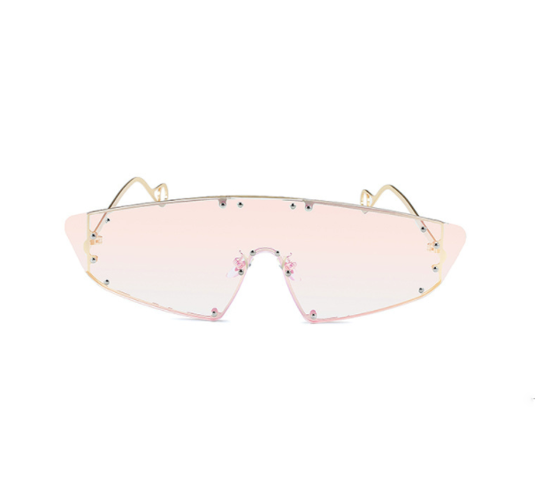 Pink Mirror Studded Visor Sunglasses