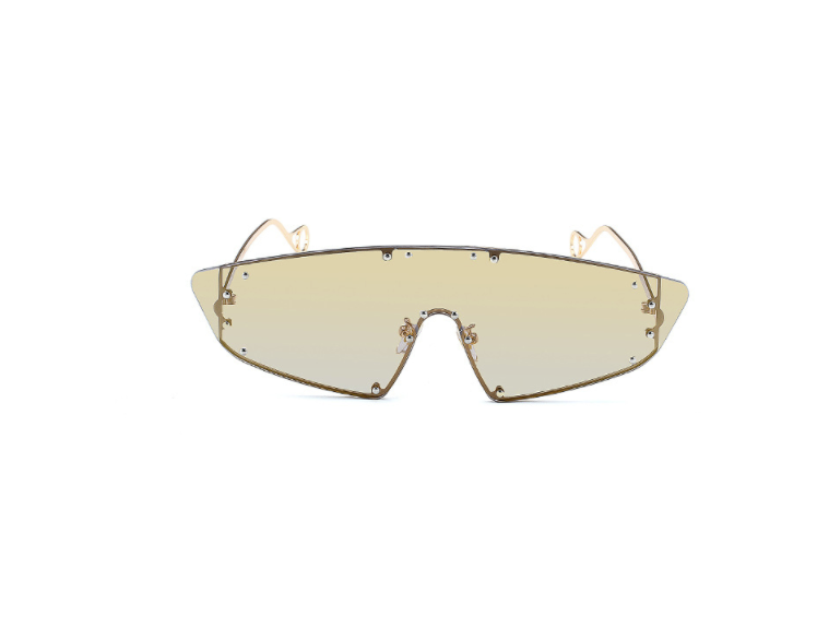 Gold Mirror Studded Visor Sunglasses