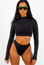 Sorella Black Long Sleeve Bikini Top