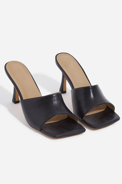 Black Solid Mule Heel
