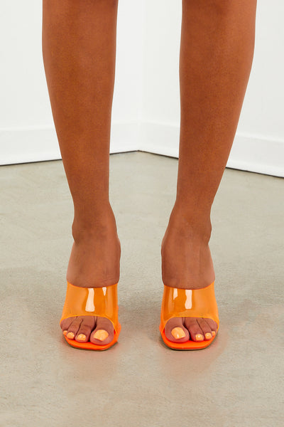 Ivy Mule Heel - Neon Orange