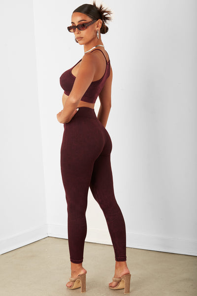 Burgundy Highwaist Capri Legging