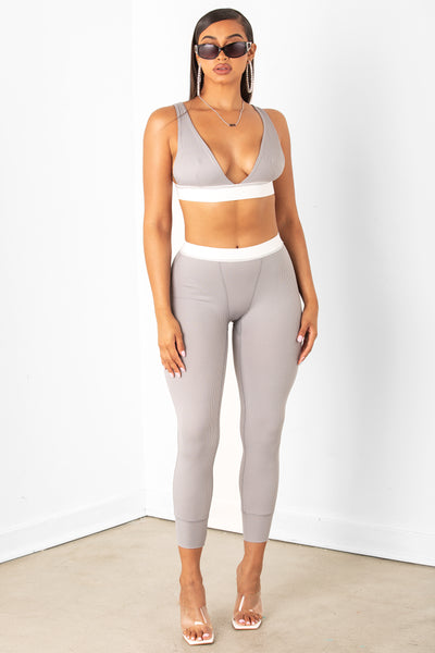 Grey Ribbed Legging & Bralette Set