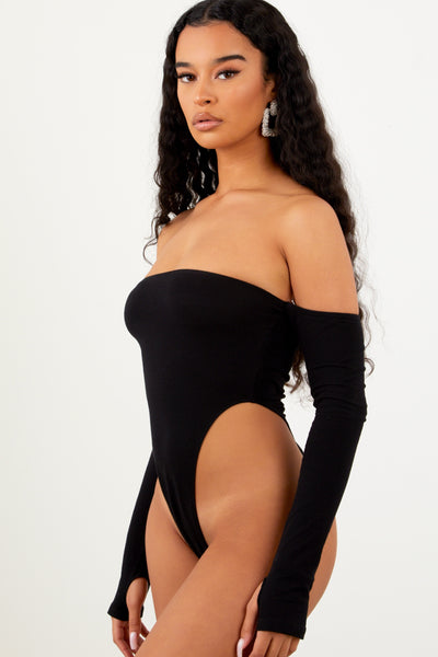 Sorella Black Off Shoulder Bodysuit