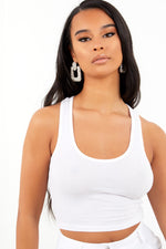 White Racer Back Crop Top