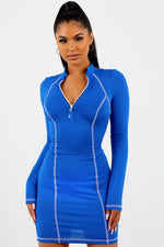 Sorella Long Sleeve Contrast Stitch Dress- Royal Blue