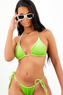 Sorella Neon Lime Velour Bikini Set