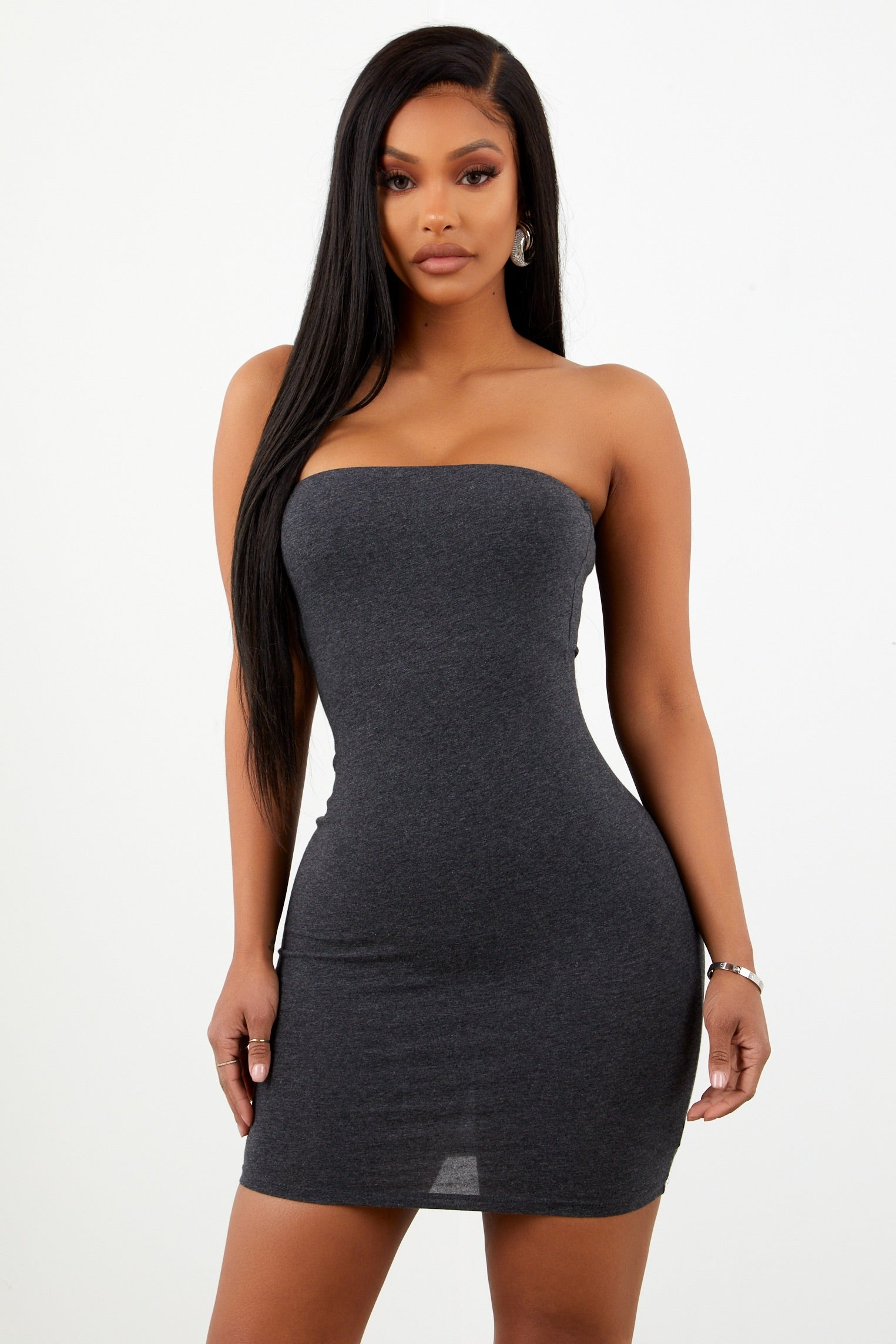 Grey Basic Strapless Dress