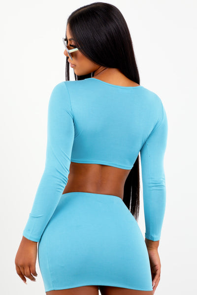 Sorella Blue Long Sleeve Cupro Skirt Set