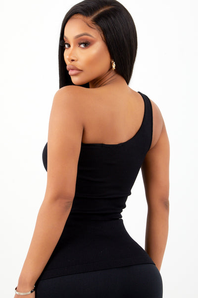 Black Basic One Shoulder Top