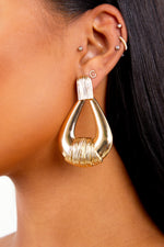 Gold Tear Drop Texture Earrings