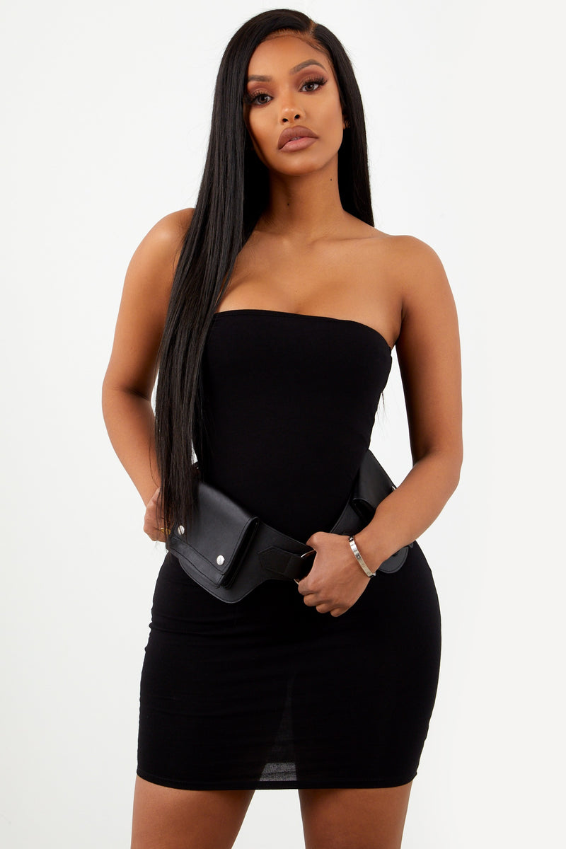 Black Basic Strapless Dress