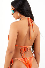 Sorella Neon Orange Velour Bikini Set
