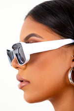 White Inverted Frame Sunglasses