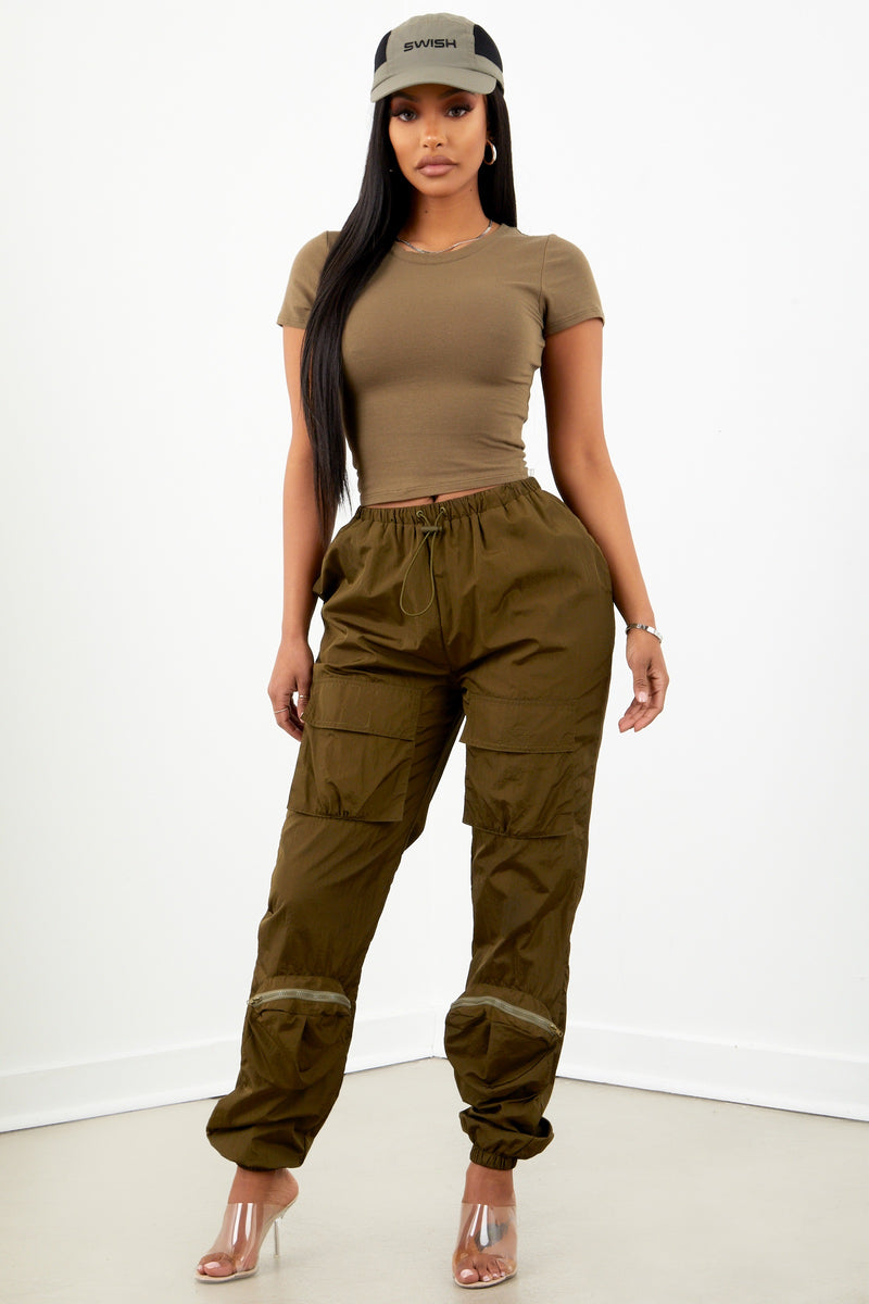 Olive Basic Short Sleeve Crop
