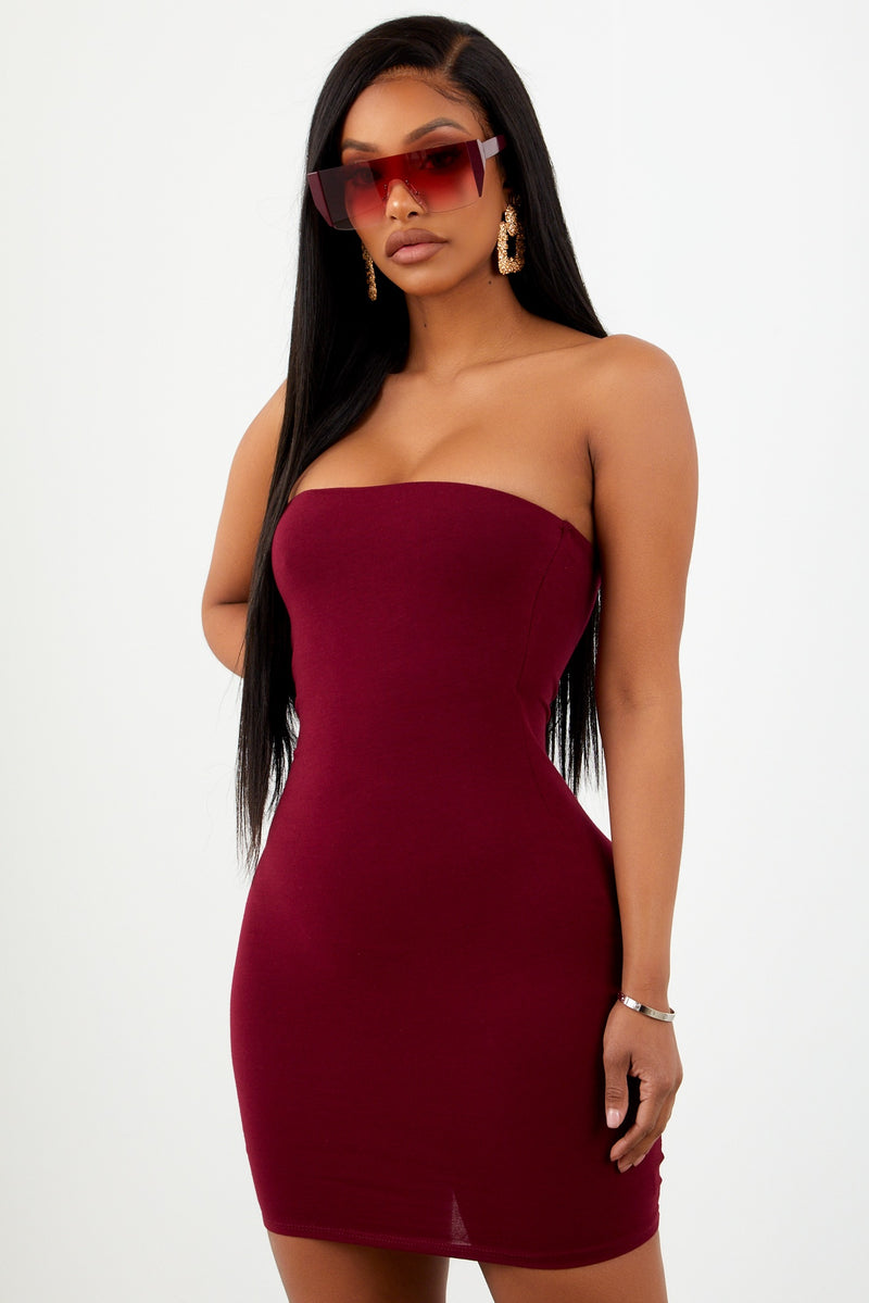 Burgundy Basic Strapless Dress