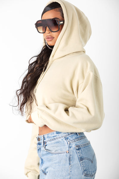 Nude Cropped Pullover Hoodie