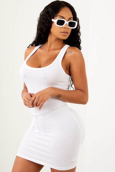 White Basic Mini Racer Back Dress