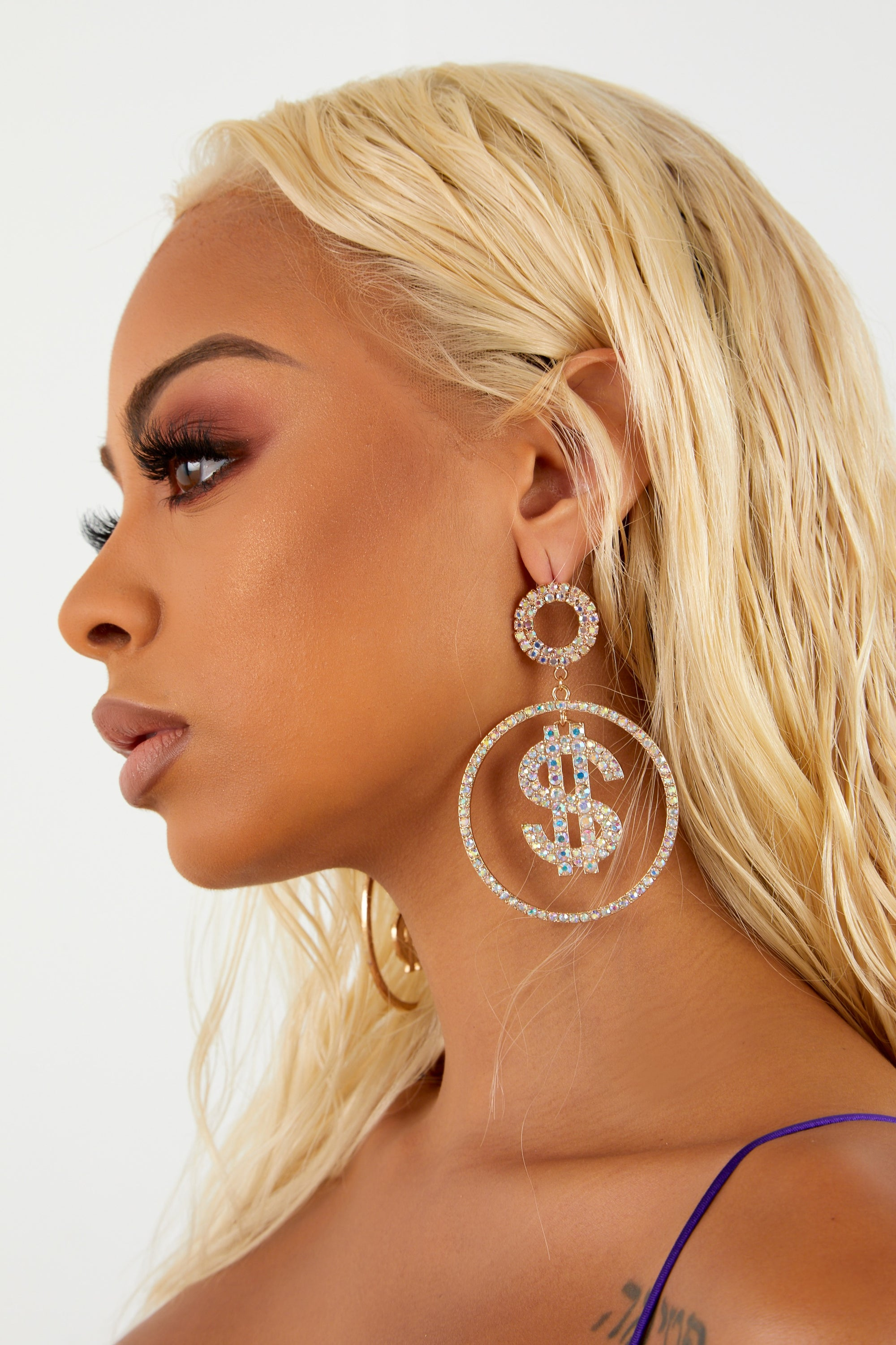 Cash Me Out Hoop Drop Earrings - Gold